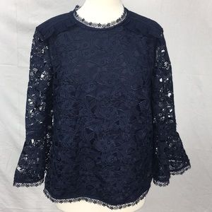 Ted Baker Navy Caetlyn Lace Bell Sleeve Blouse